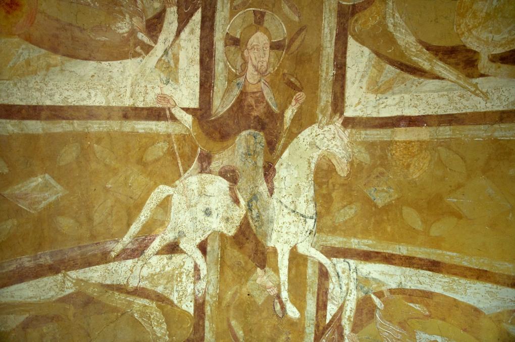 Auxerre - Cathédrale Saint-Etienne - Crypte romane : fresque du Christ à cheval (XIe s.)