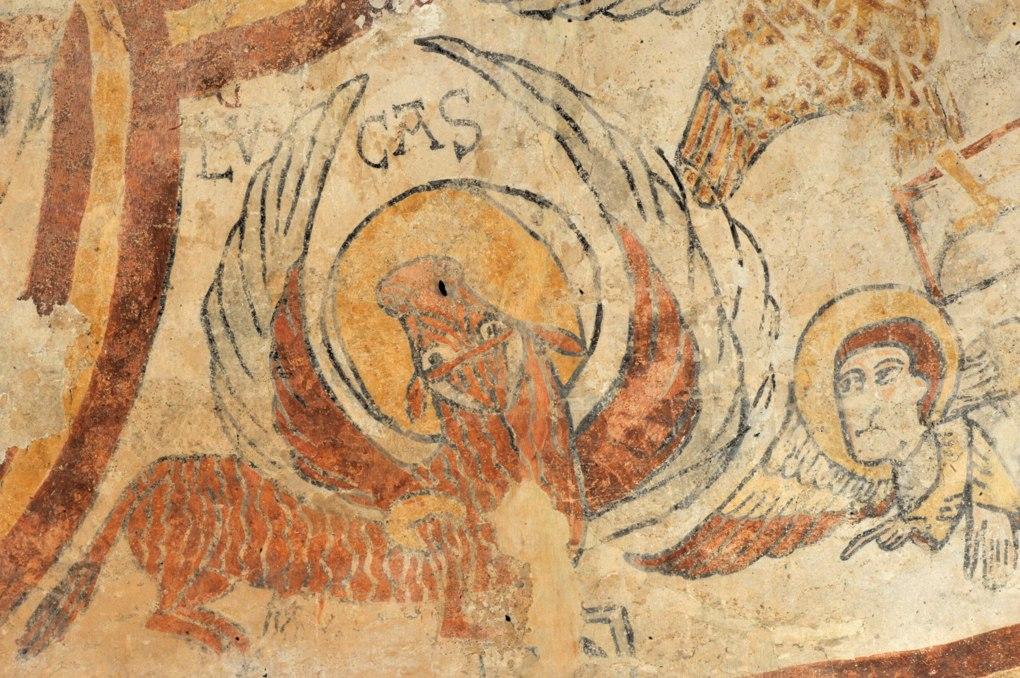 Burnand - Eglise Saint-Nizier - peintures murales de l'abside (v. 1100-1120) : le taureau (ailé ici), symbole de l'évangéliste Luc