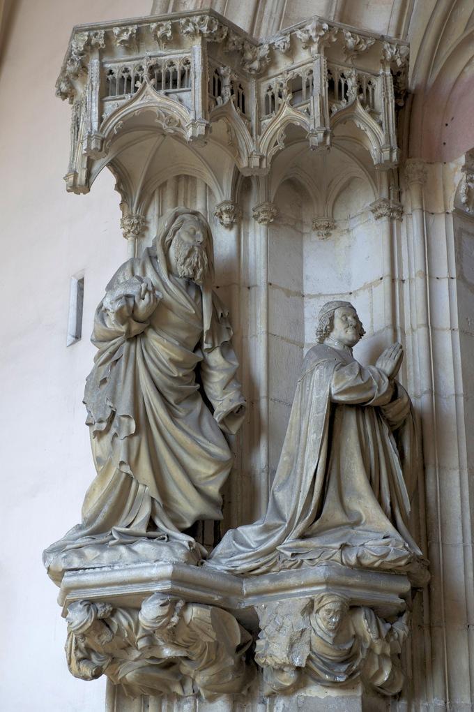 Dijon - Chartreuse de Champmol : saint Jean-Baptiste présente à la Vierge le duc Philippe le Hardi en prière (v. 1391)
