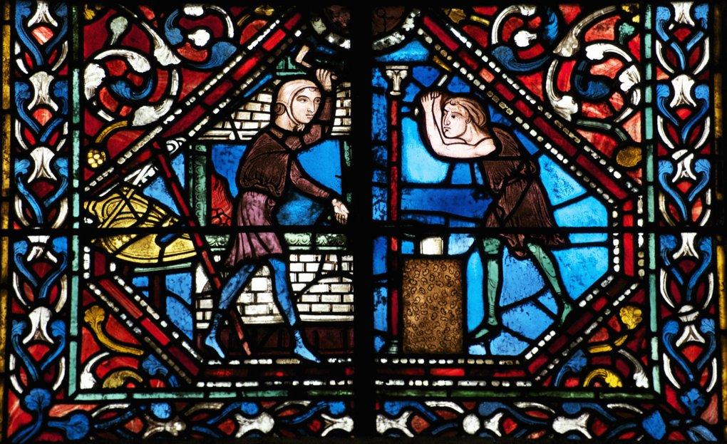 Dijon - Eglise Notre-Dame : vitrail représentant les forgerons au travail (XIIIe siècle)