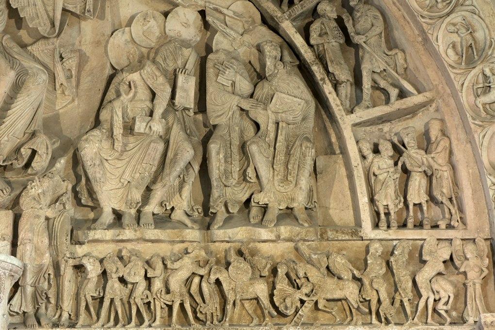 Vézelay - Abbatiale Sainte-Madeleine - Portail central de la nef - Linteau et partie droite du tympan (v. 1130)