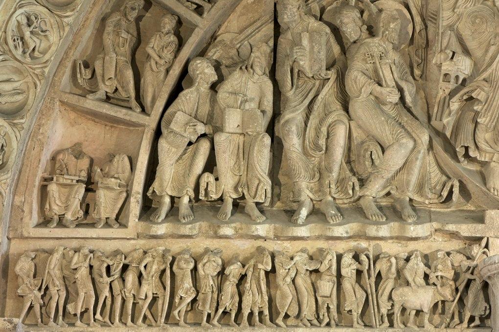 Vézelay - Abbatiale Sainte-Madeleine - Portail central de la nef - Linteau et partie gauche du tympan (v. 1130)