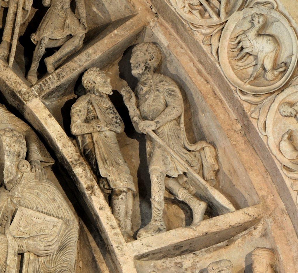 Vézelay - Abbatiale - Tympan central - caisson (v. 1130) : les Byzantins ?