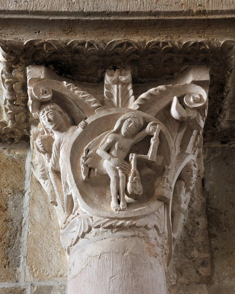 Vézelay - Chapiteau de la nef - Balance et Gémeaux