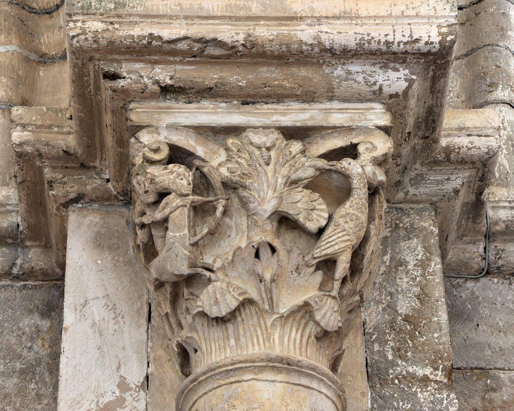 Vézelay - Chapiteau du collatéral sud - L'éducation d'Achille par le centaure Chiron