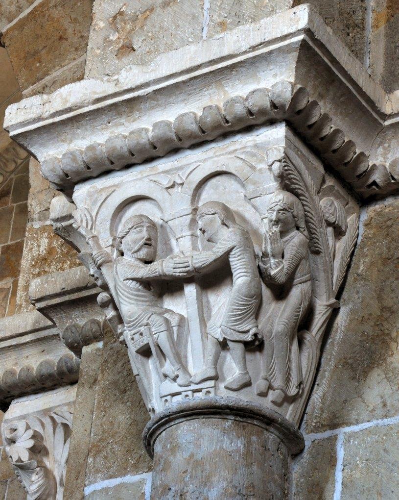 Vézelay - Chapiteau de la nef - collatéral sud : Isaac et Jacob