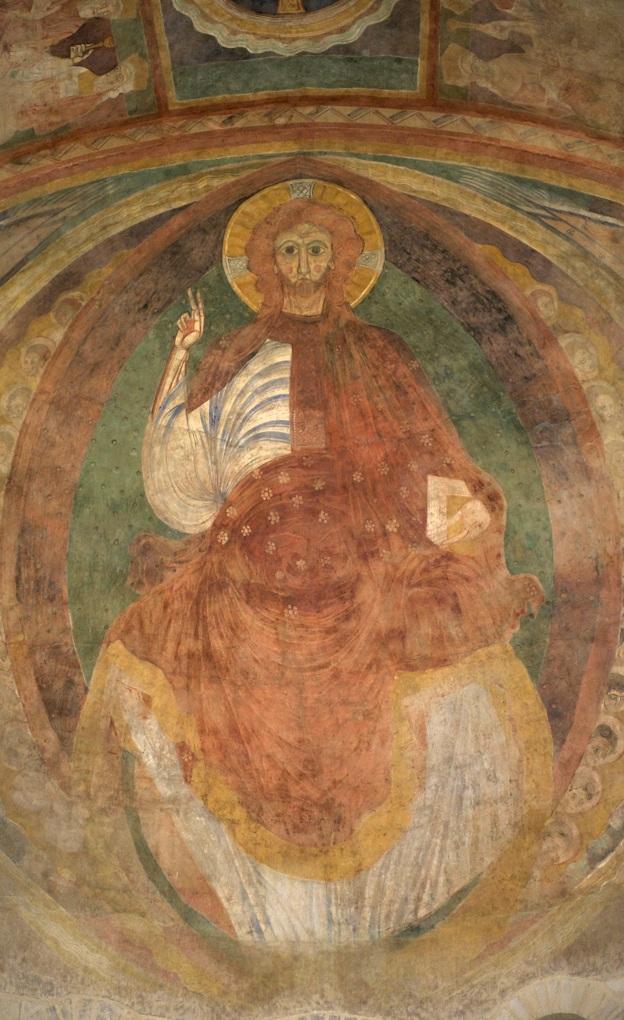 Nevers - Cathédrale Saint-Cyr-et-Sainte-Julitte (XIe et XIII-XVIe siècle) - La fresque du Christ en gloire (XIIe siècle)