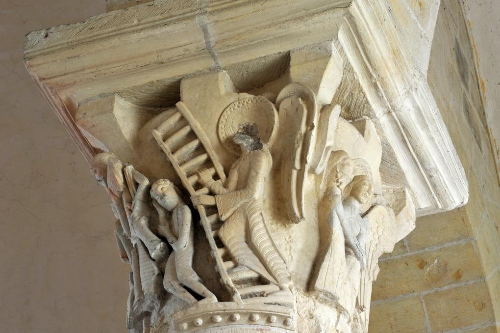 Saint-Révérien - Eglise Saint-Révérien - Chapiteau du rond-point : l'Echelle de Jacob (XIIe siècle)
