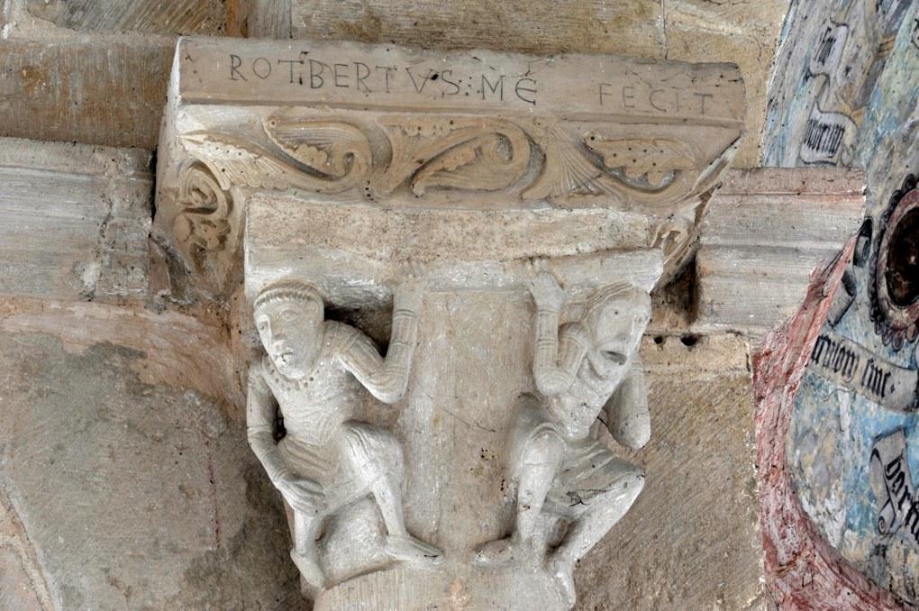 Saint-Révérien - Eglise Saint-Révérien - Chapiteau de Rotbertus dans le déambulatoire : les Atlantes (XIIe siècle)
