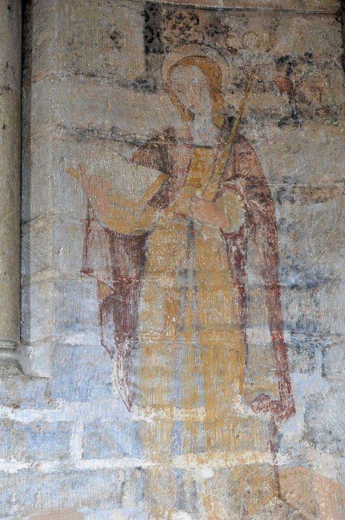 Saint-Révérien - Eglise Saint-Révérien - Absidiole sud : fresque représentant sainte Geneviève (XVIe siècle)