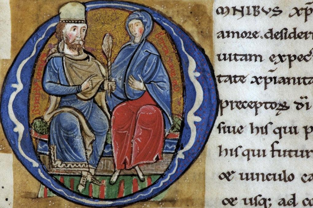Vézelay - Bibliothèque municipale d'Auxerre, f. 22r (miniature, v. 1170) : le comte Girart et sa femme Berthe, fondateur du monastère de Vézelay (autorisation Bibliothèque municipale d'Auxerre)
