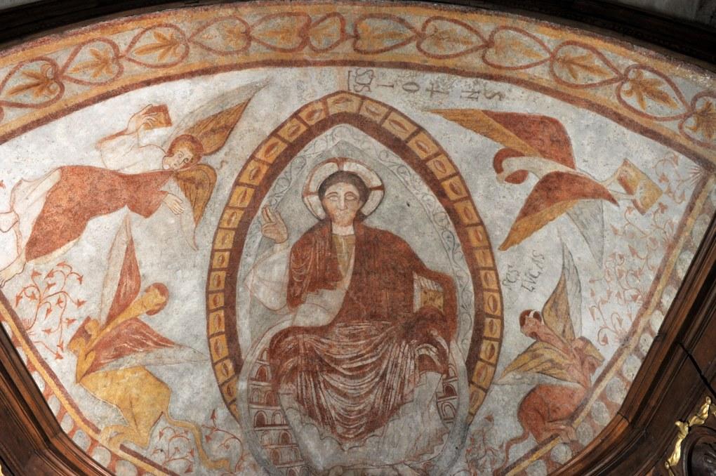 Curgy - Eglise Saint-Ferréol - Christ en gloire et Tétramorphe