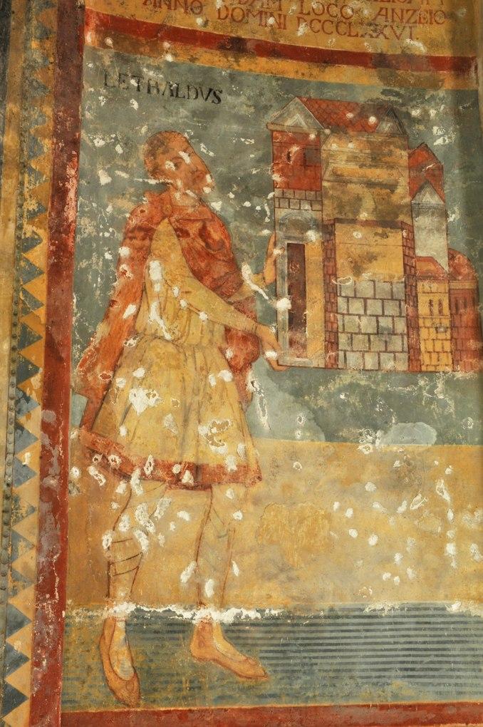 Anzy-le-Duc - Eglise priorale - Fresque de l'abside : le donateur Letbald