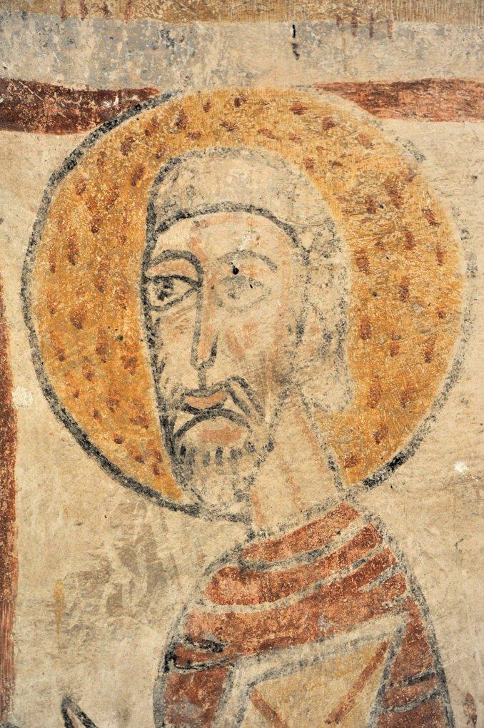 Burnand - Eglise Saint Nizier - Peintures murales de l'abside : un apôtre (v. 1100)