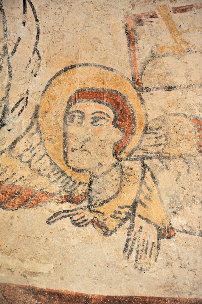 Burnand - Eglise Saint Nizier - Peintures murales de l'abside : la figure d'homme, symbole de l'évangéliste Marc (v. 1100)