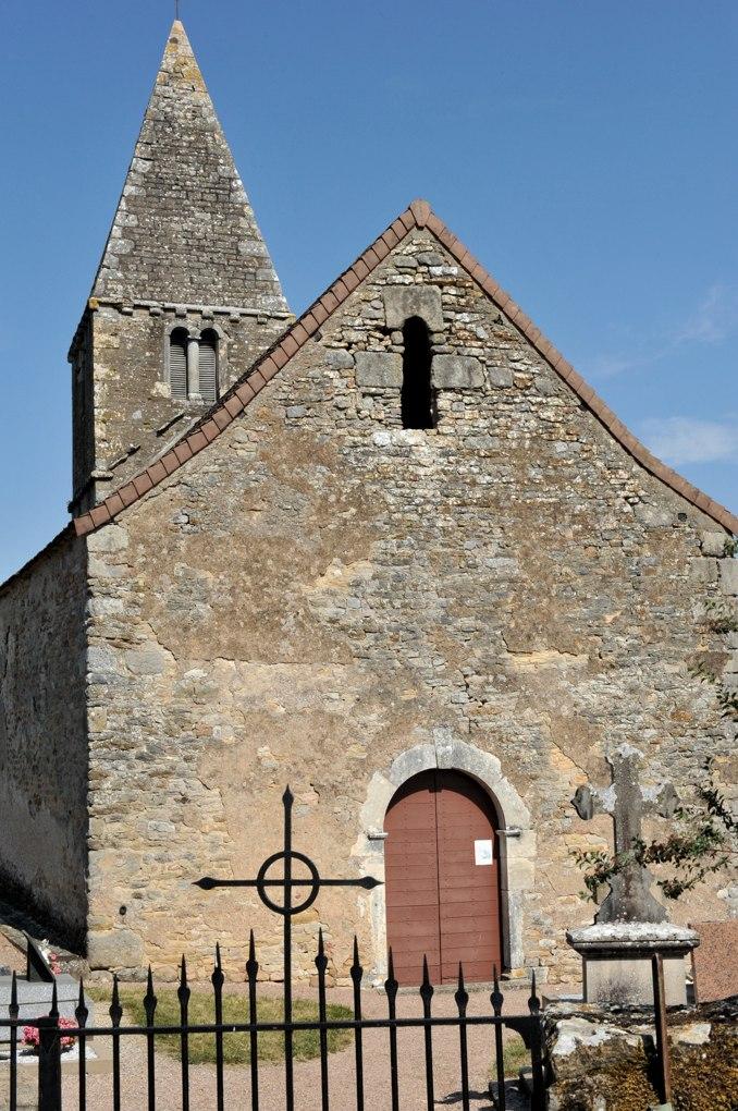 Cersot - Eglise de l'Assomption (XIIe siècle) - Façade et clocher