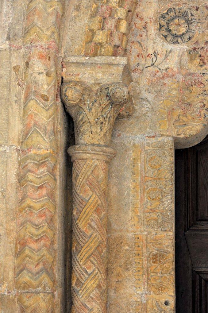 Paray-le-Monial - Ancienne priorale Notre-Dame - piédroit de gauche du portail sud