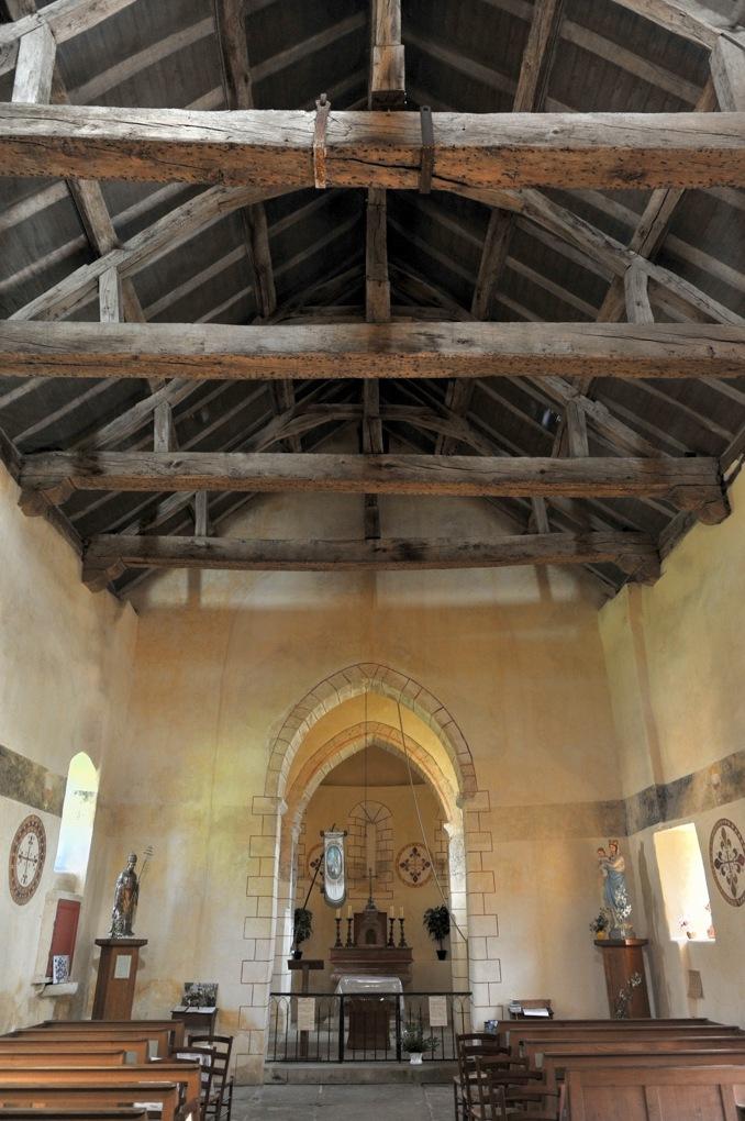 Saint-Clément-sur-Guye - Eglise Saint-Clément (fin Xe et XIIe siècle) - La nef charpentée