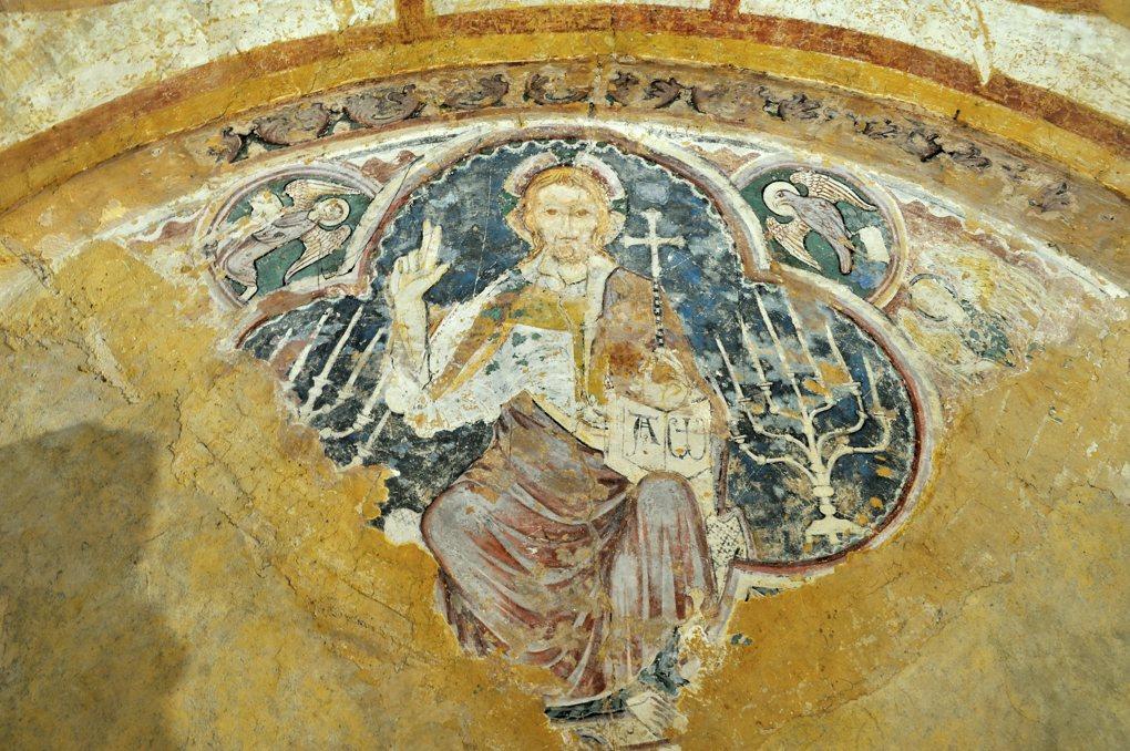 Auxerre - Cathédrale Saint-Etienne (XIe-XVIe siècle) - Crypte romane : le Christ en Majesté (v. 1300)