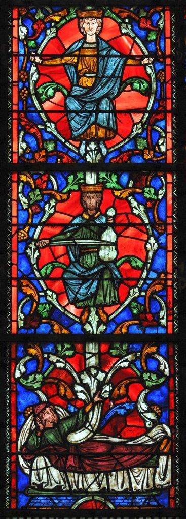 Auxerre - Cathédrale Saint-Etienne (XIe-XVIe siècle) - Vitraux du déambulatoire : le cycle du roi David (XIIIe siècle)