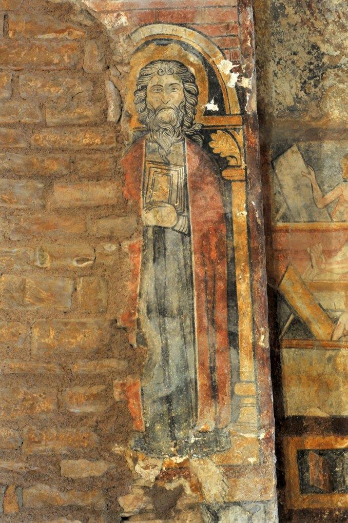 Martailly-lès-Brancion - Eglise Saint-Pierre de Brancion (XIIe siècle) : les fresques de l'abside (3e quart du XIIIe siècle) : apôtre