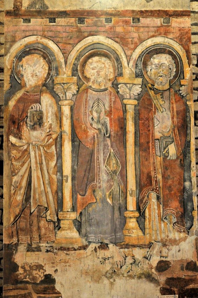 Martailly-lès-Brancion - Eglise Saint-Pierre de Brancion (XIIe siècle) : les fresques de l'abside (3e quart du XIIIe siècle) : apôtres