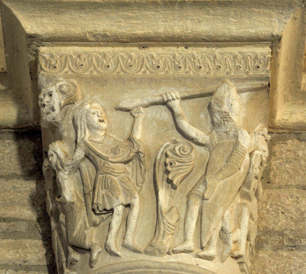 Chissey-lès-Mâcon - Eglise Saint-Pierre (XIIe siècle) - Chapiteau : scène associée au roi David