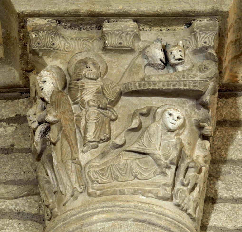 Chissey-lès-Mâcon - Eglise Saint-Pierre (XIIe siècle) - Chapiteau : la Nativité
