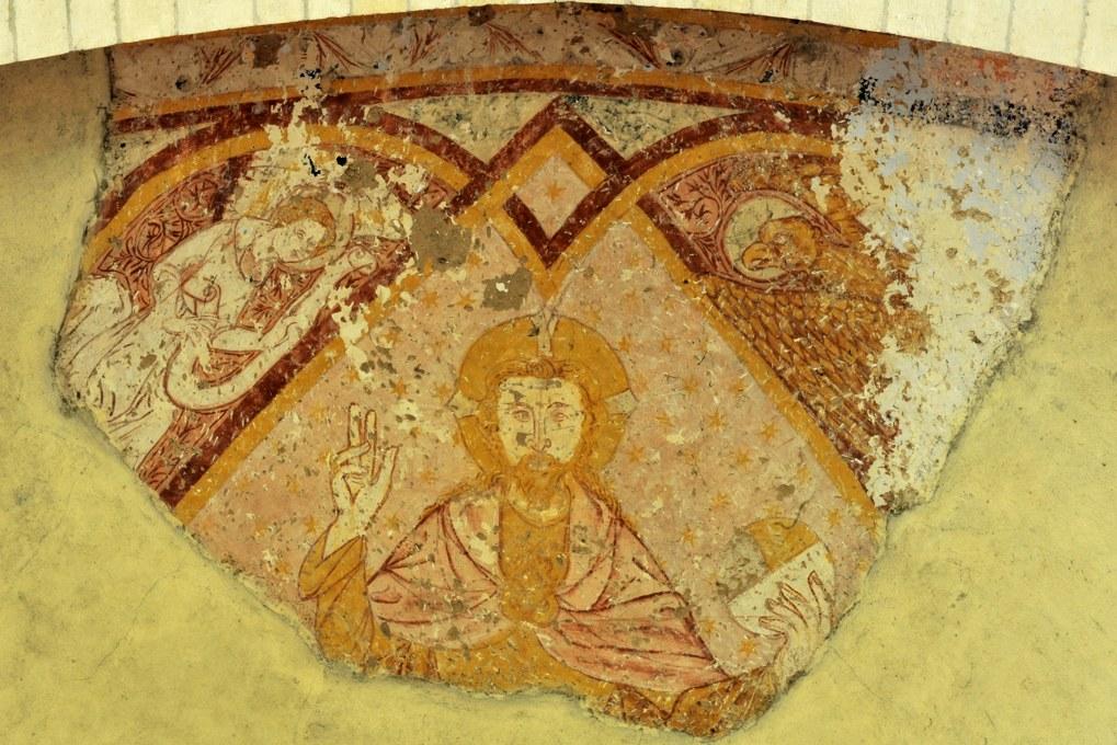 Rouy - Eglise Saint-Germain (XIIe siècle) - Fresque de l'abside (XIVe siècle) : le Christ en majesté