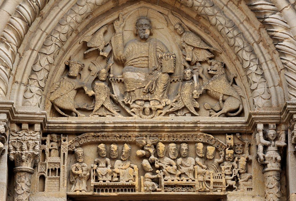 Semur-en-Brionnais - Ancienne collégiale Saint-Hilaire (XIIe siècle) - Tympan du portail ouest