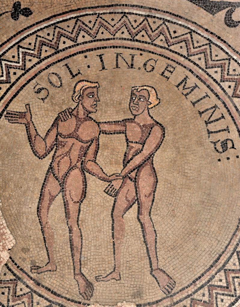 Tournus - Abbaye Saint-Philibert - Mosaïque du déambulatoire : les Gémeaux