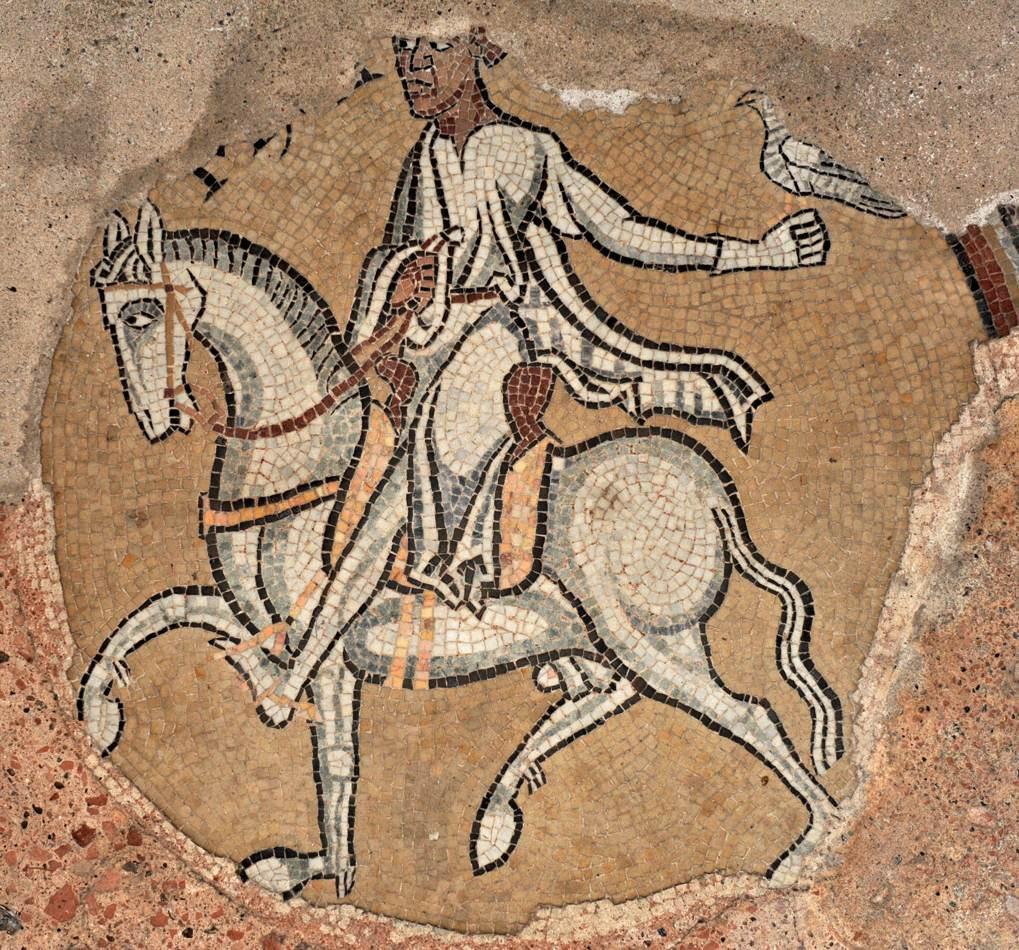 Tournus - Abbaye Saint-Philibert - mosaïque du déambulatoire : le Fauconnier