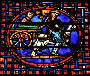 Auxerre (89) - Cathédrale Saint-Etienne (XIe-XVIe siècle) - Vitraux du déambulatoire : le transport des reliques (XIIIe siècle)