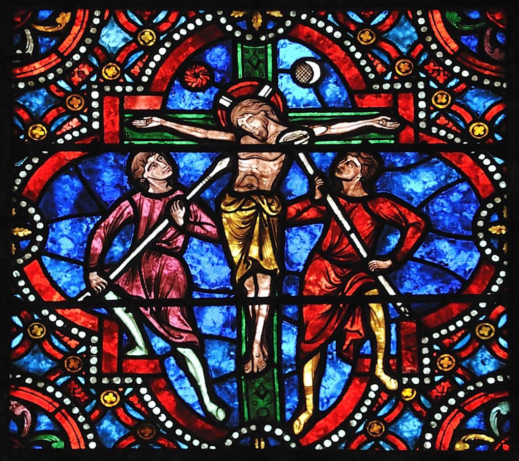 Auxerre - Cathédrale Saint-Etienne (XIe-XVIe siècle) - Vitraux du déambulatoire : la Crucifixion (XIIIe s.)