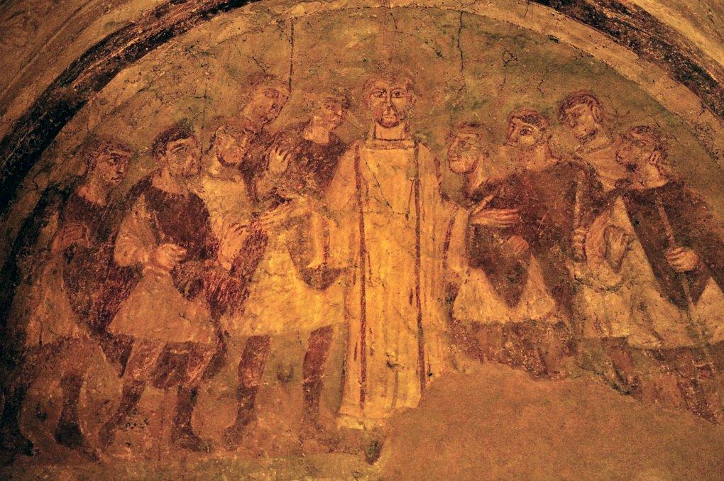 Auxerre - Abbaye Saint-Germain - Cryptes : la prédication de saint Etienne (milieu du IXe siècle)