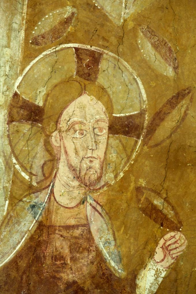 Auxerre - Cryptes de la cathédrale : détail du Christ à cheval (XIe siècle)