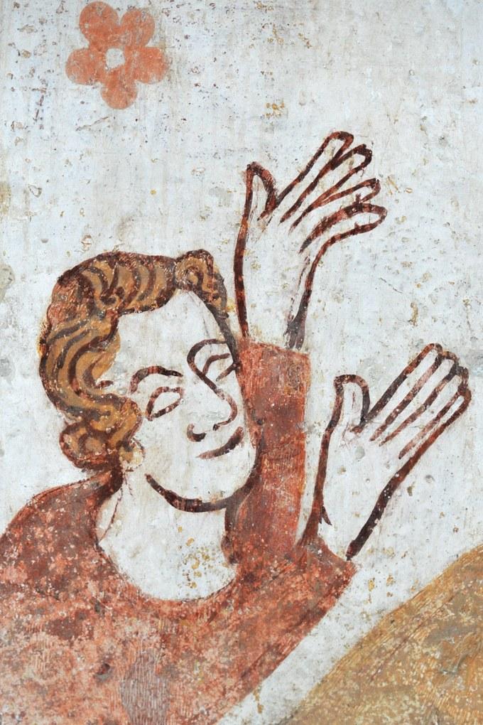 Moutiers-en-Puisaye - Eglise Saint-Pierre - Peintures murales gothiques (mur sud) : détail de la Nativité (v. 1300)