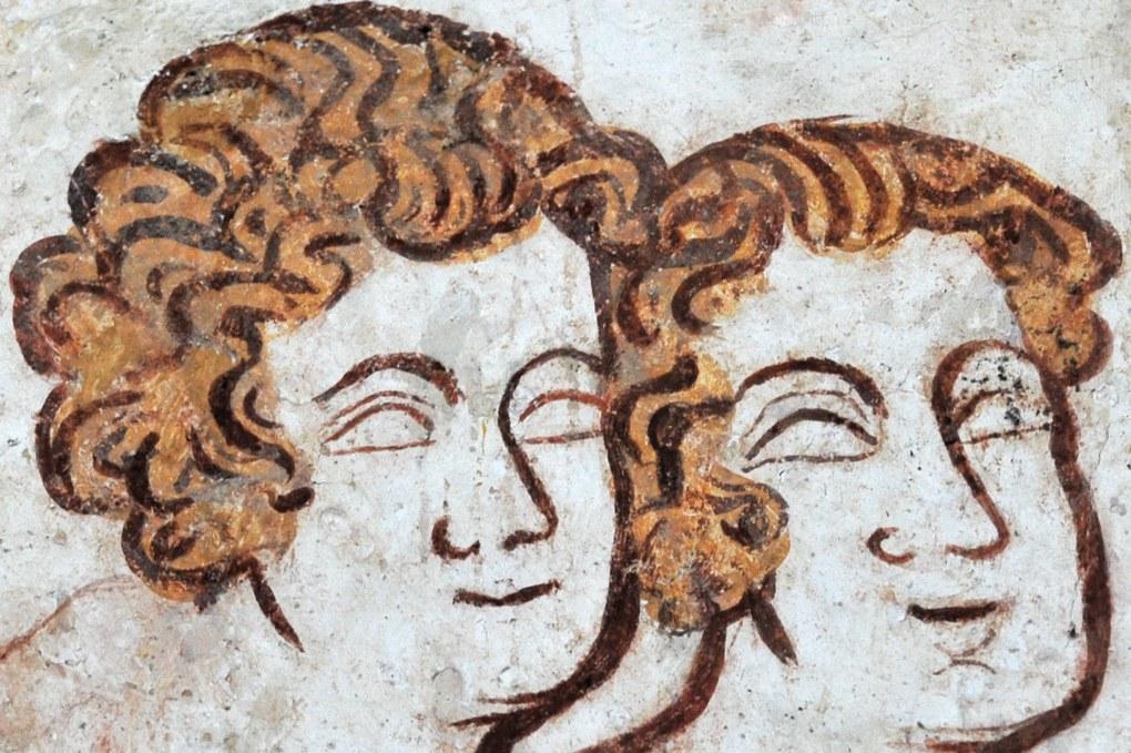 Moutiers-en-Puisaye - Eglise Saint-Pierre - Peintures murales gothiques (mur sud) : détail du Baptême du Christ (v. 1300)