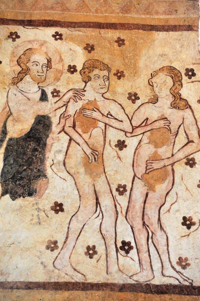 Moutiers-en-Puisaye - Eglise Saint-Pierre - Peintures murales gothiques (mur sud) : Adam et Eve se découvrent nus (v. 1300)