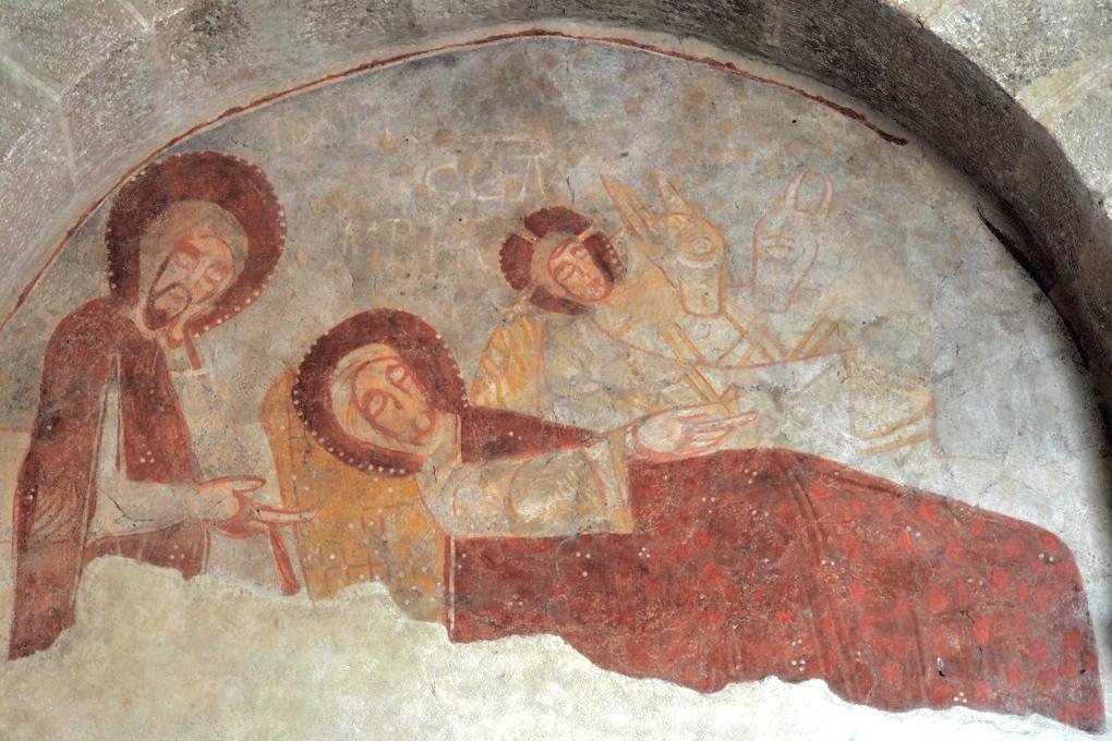 Gourdon - Eglise Notre-Dame-de-l'Assomption (XIIe siècle) - Fresque : la Nativité
