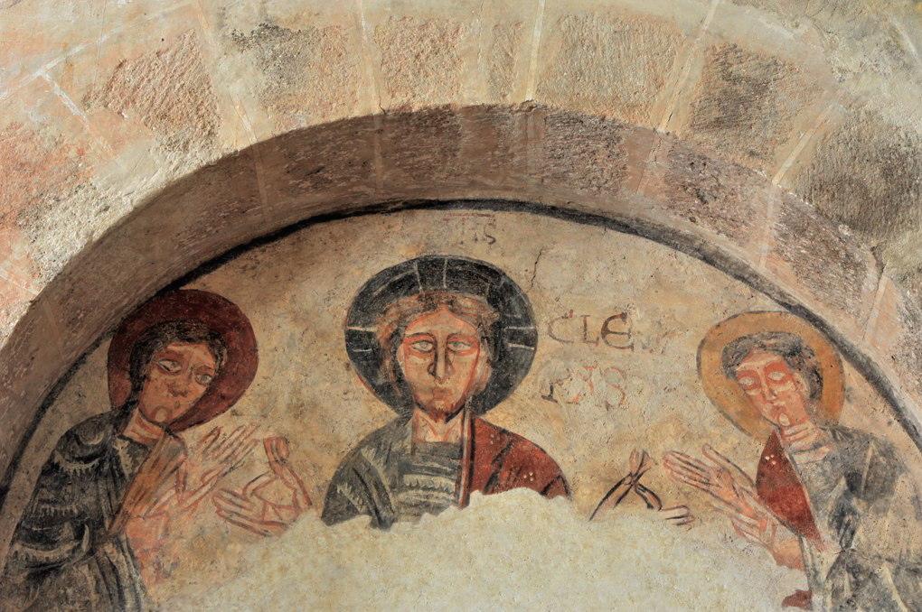 Gourdon - Eglise Notre-Dame-de-l'Assomption (XIIe siècle) - Fresque : le Christ et les pèlerins d'Emmaüs