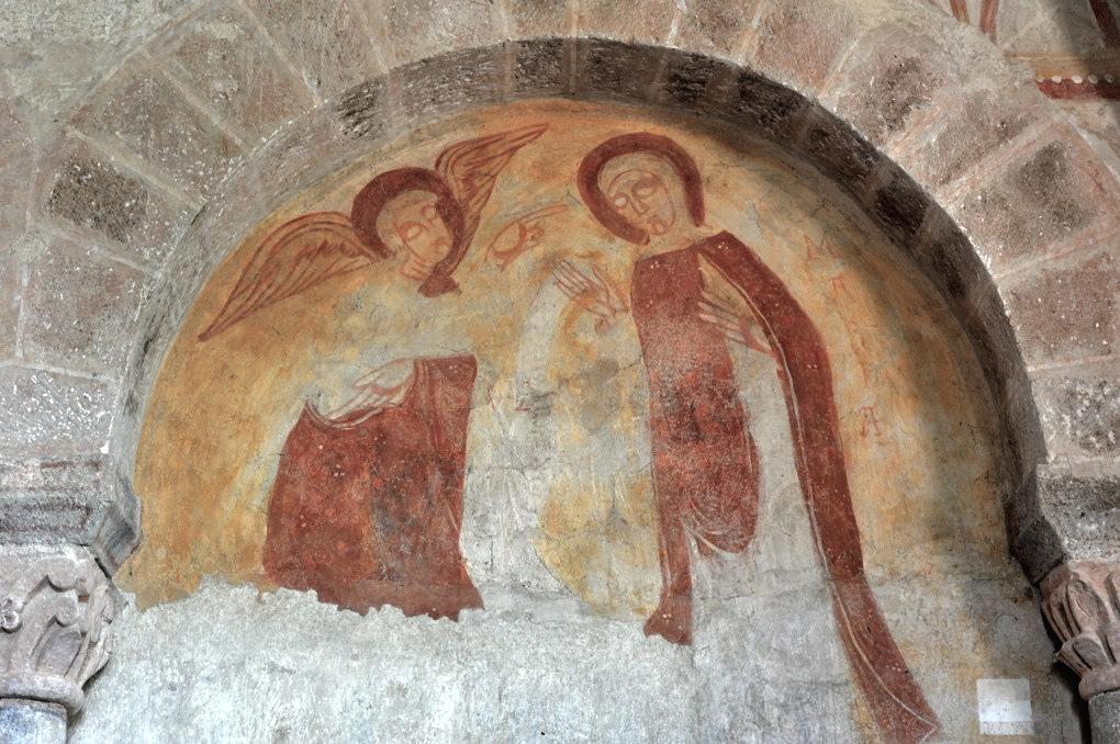 Gourdon - Eglise Notre-Dame-de-l'Assomption (XIIe siècle) - Fresque : la Visitation