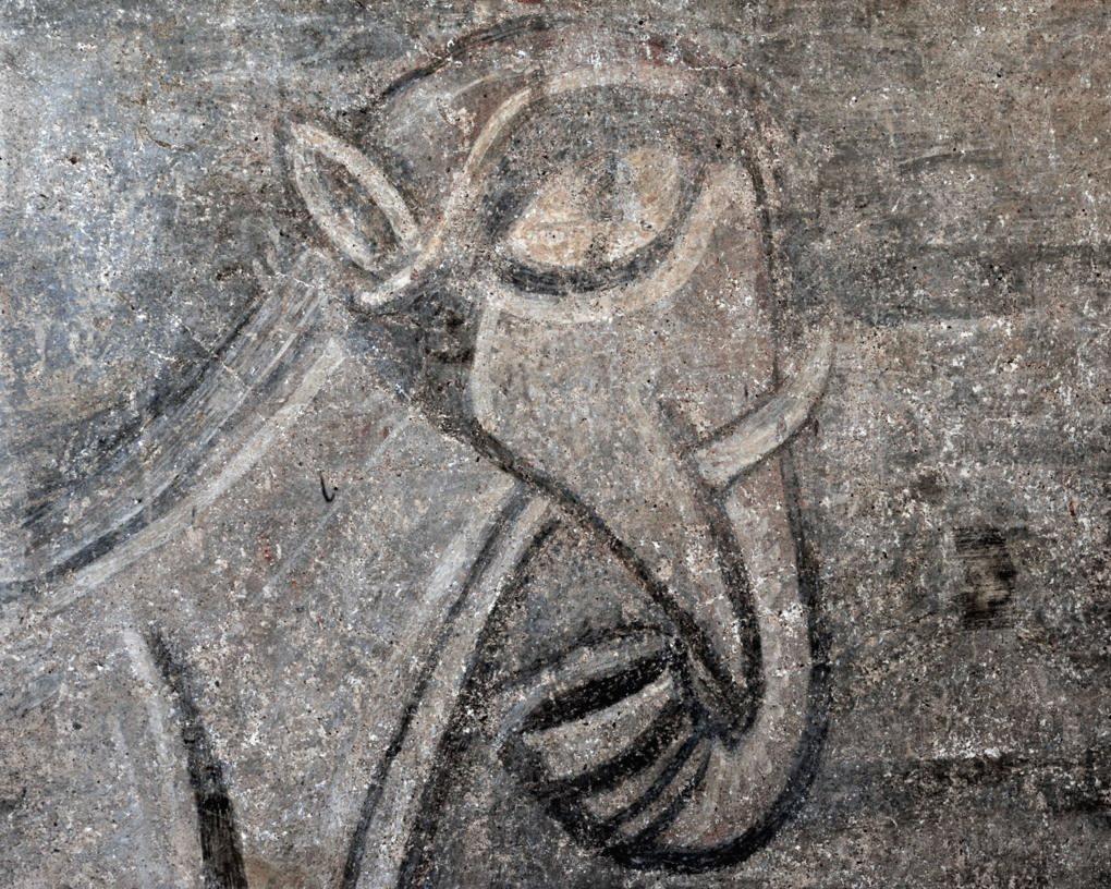 Gourdon - Eglise Notre-Dame-de-l'Assomption (XIIe siècle) - Fresque : l'éléphant