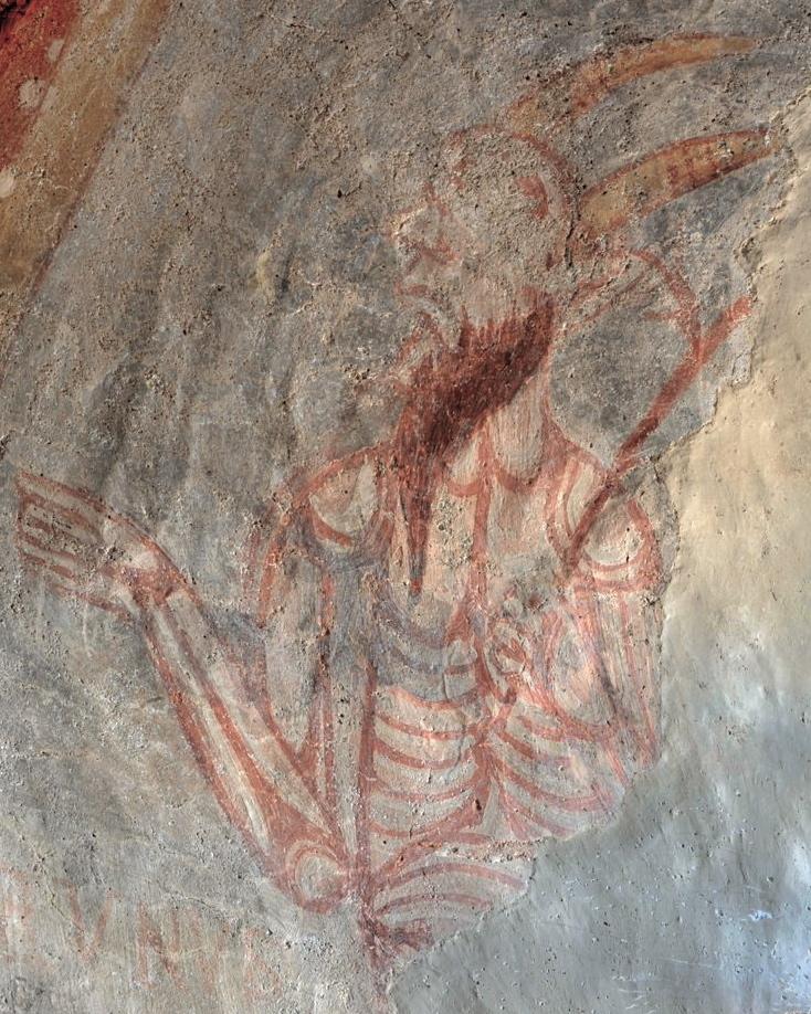 Gourdon - Eglise Notre-Dame-de-l'Assomption (XIIe siècle) - Fresque : faune diabolique