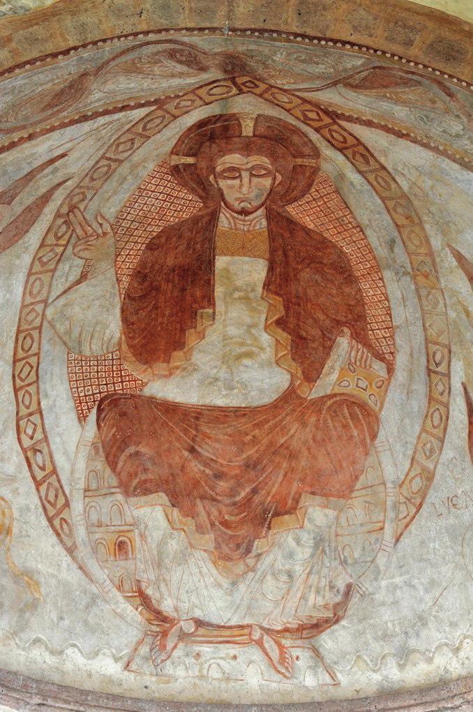 Gourdon - Eglise Notre-Dame-de-l'Assomption (XIIe siècle) - Fresque de la voûte du sanctuaire : le Christ bénissant