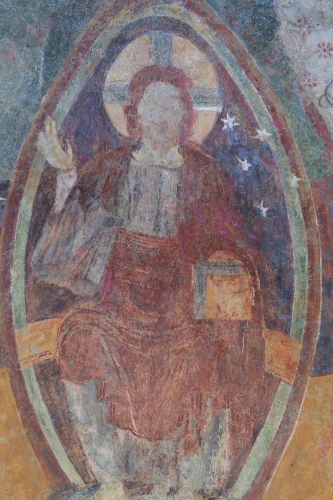 Le Villars-Eglise Saint-Pierre-Peinture murale de l'abside : le Christ bénissant (début XIIe s.)