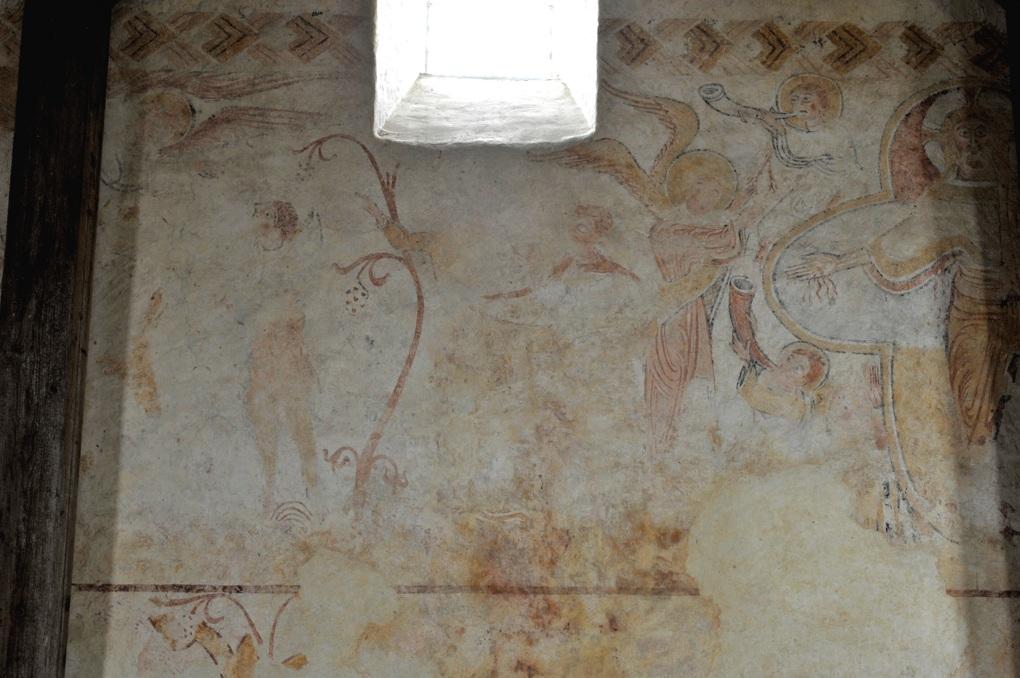 Moutiers-en-Puisaye - Peinture murale (XIIe siècle) : l'Annonce faite aux Bergers