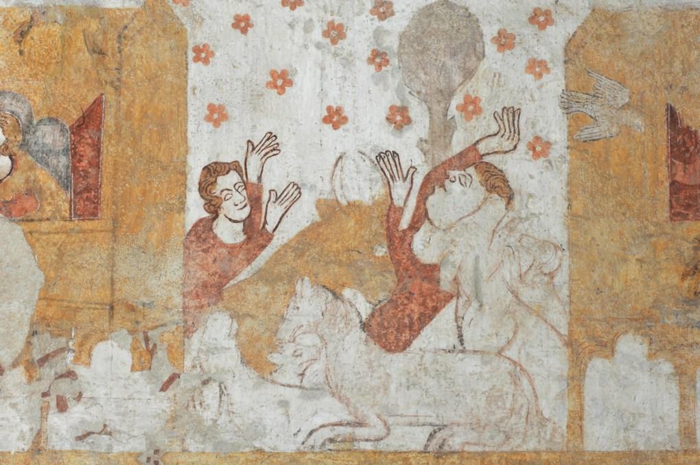 Moutiers-en-Puisaye - Peintures murales gothiques (fin du XIIIe siècle) : Adoration des Bergers