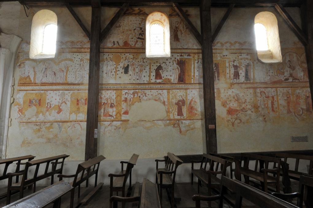 Moutiers-en-Puisaye - Peintures murales (fin XIIIe siècle) : mur sud