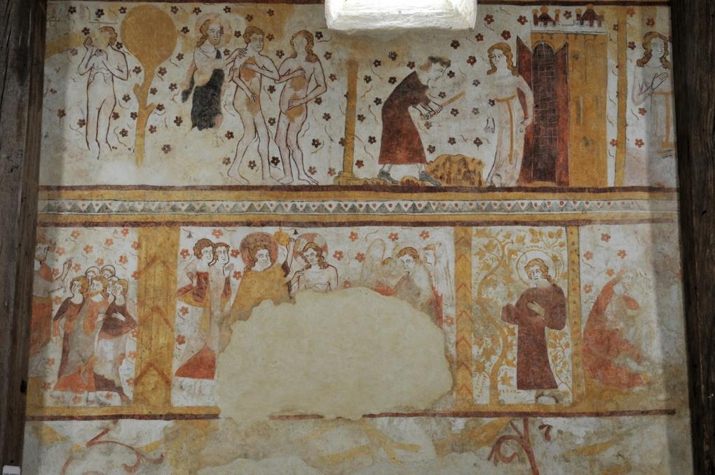 Moutiers-en-Puisaye - Peintures murales (XIIIe siècle) : au registre supérieur, Adam et Eve chassé du paradis terrestre, Adam et Eve travaillant, puis au registre médian : prêche de saint Jean, baptême du Christ